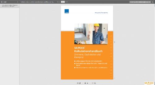Blätterkatalog Kalkulationshandbuch Zimmerer, Dachdecker, Klempner