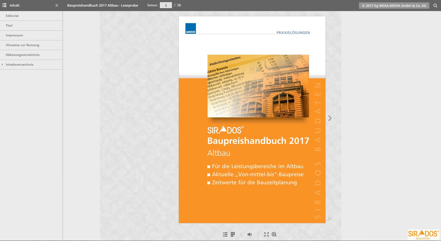 Leseprobe SIRADOS Baupreishandbuch Altbau