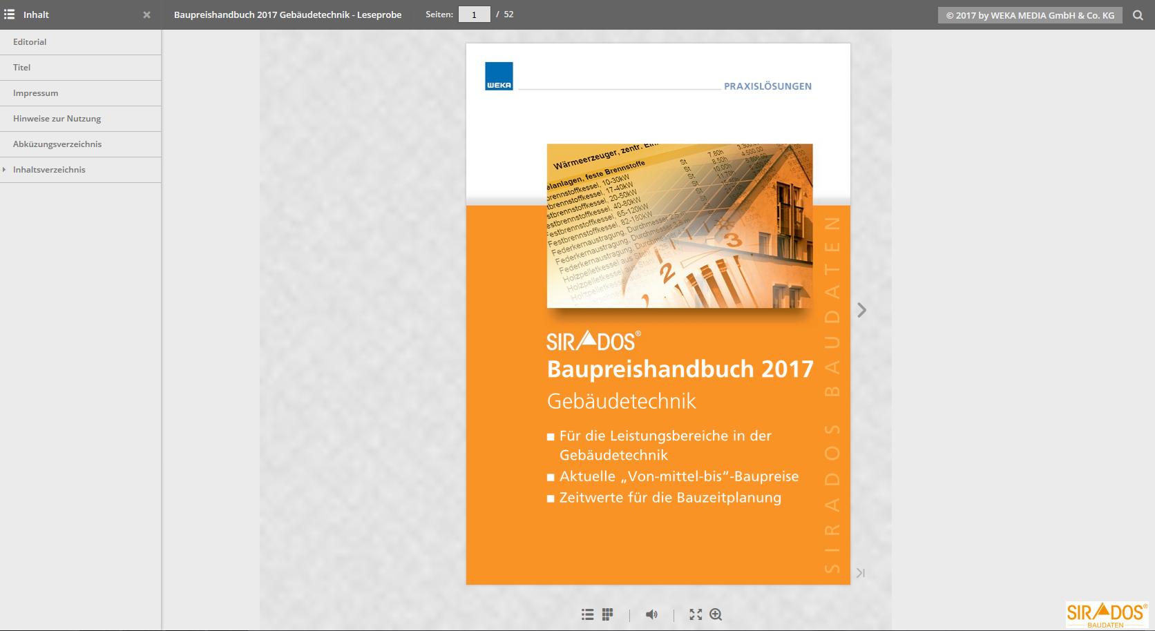 Leseprobe SIRADOS Baupreishandbuch Gebäudetechnik