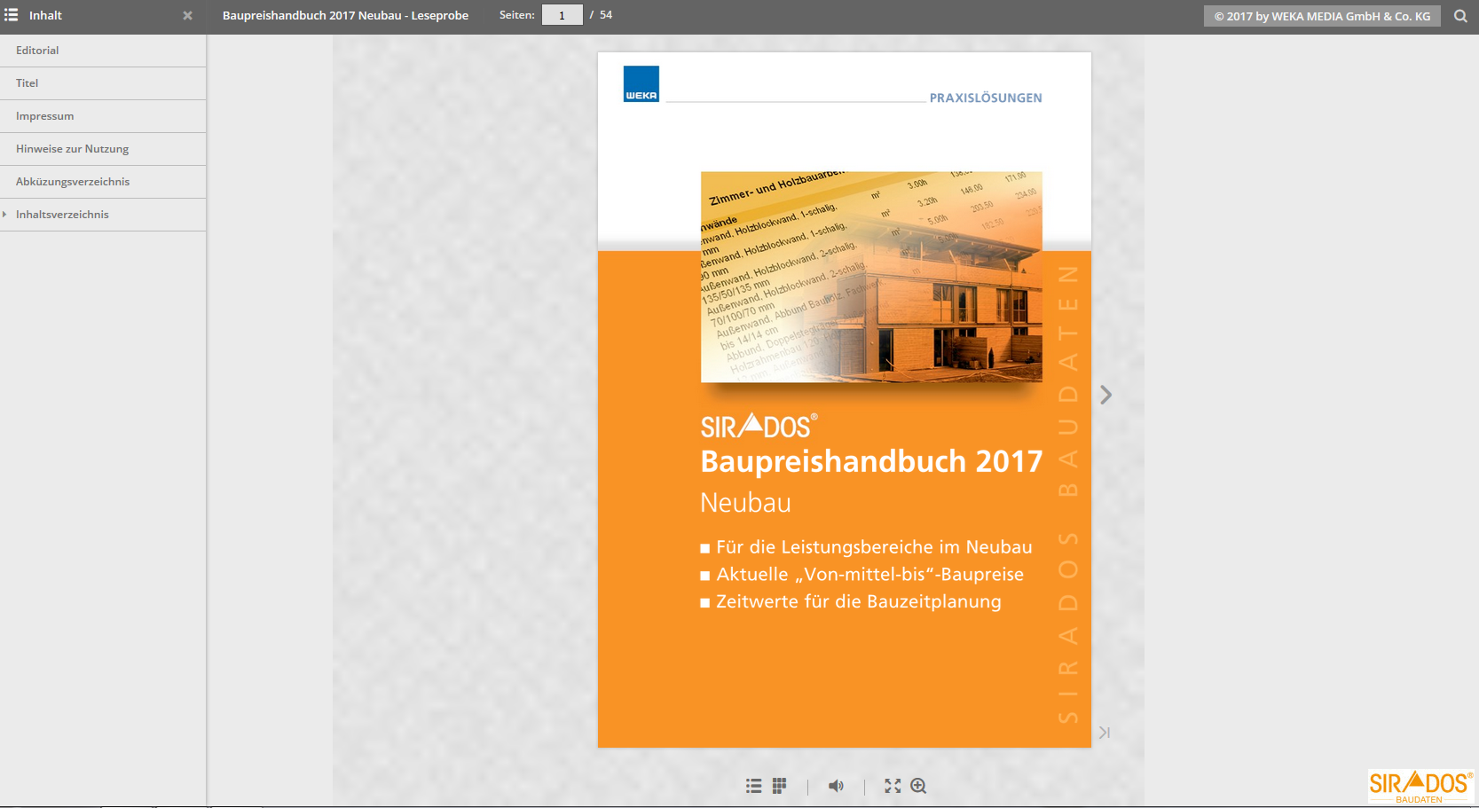 Leseprobe SIRADOS Baupreishandbuch Neubau