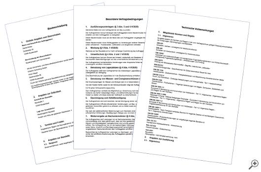 Vorbemerkungen, Vertragsbedingungen oder Baubeschreibung anzeigen und ausdrucken