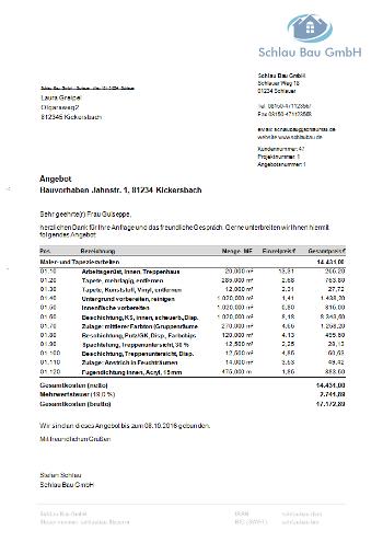 Übernahme in Angebots- und Rechnungsformular