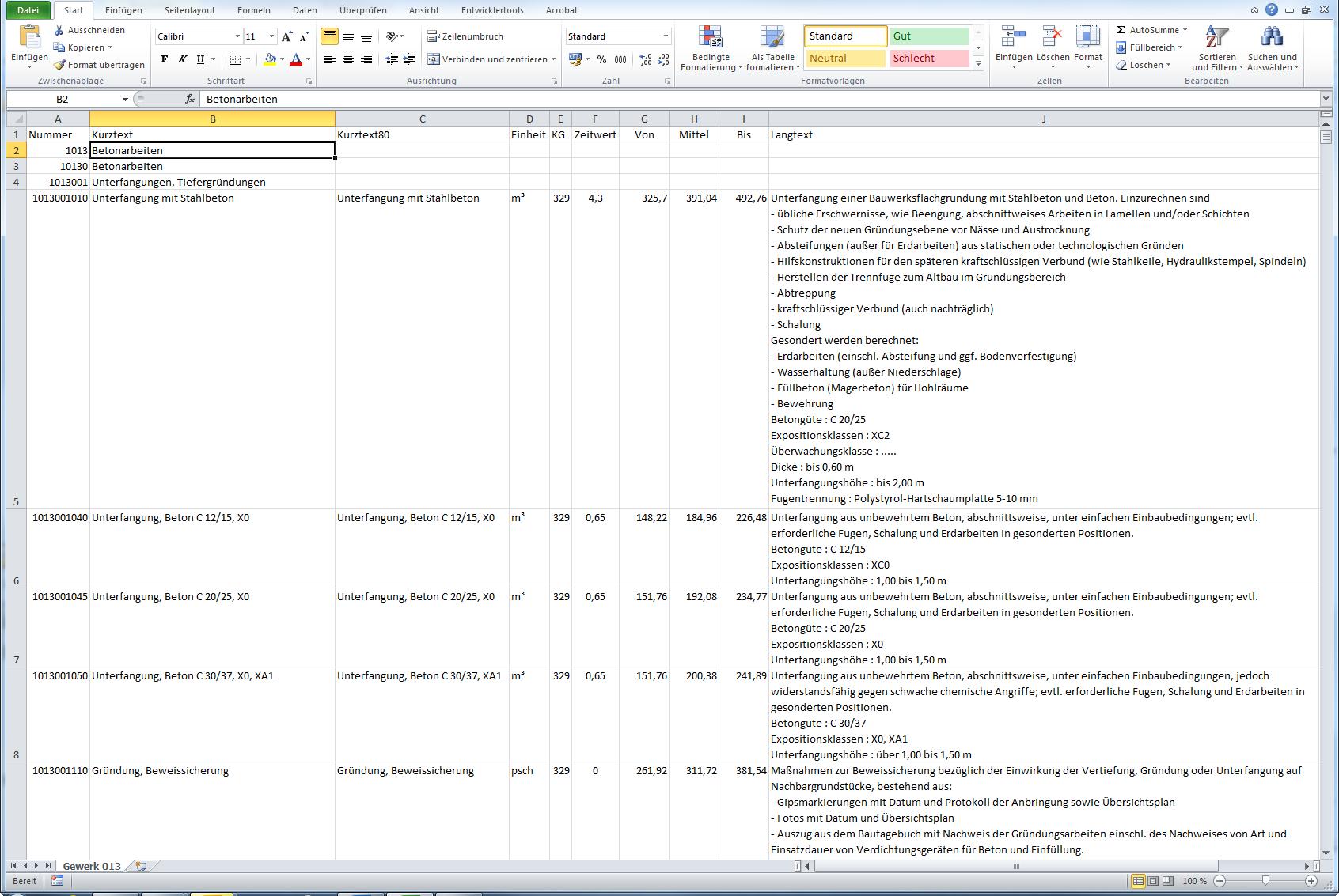 Datenausgabe CSV